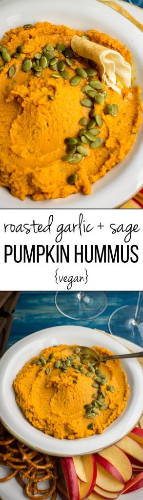 Roasted garlic sage pumpkin hummus | A fast, easy, delicious fall dip, perfect for parties, snacks, or appetizers! #pumpkinrecipes #partyfood #thanksgiving