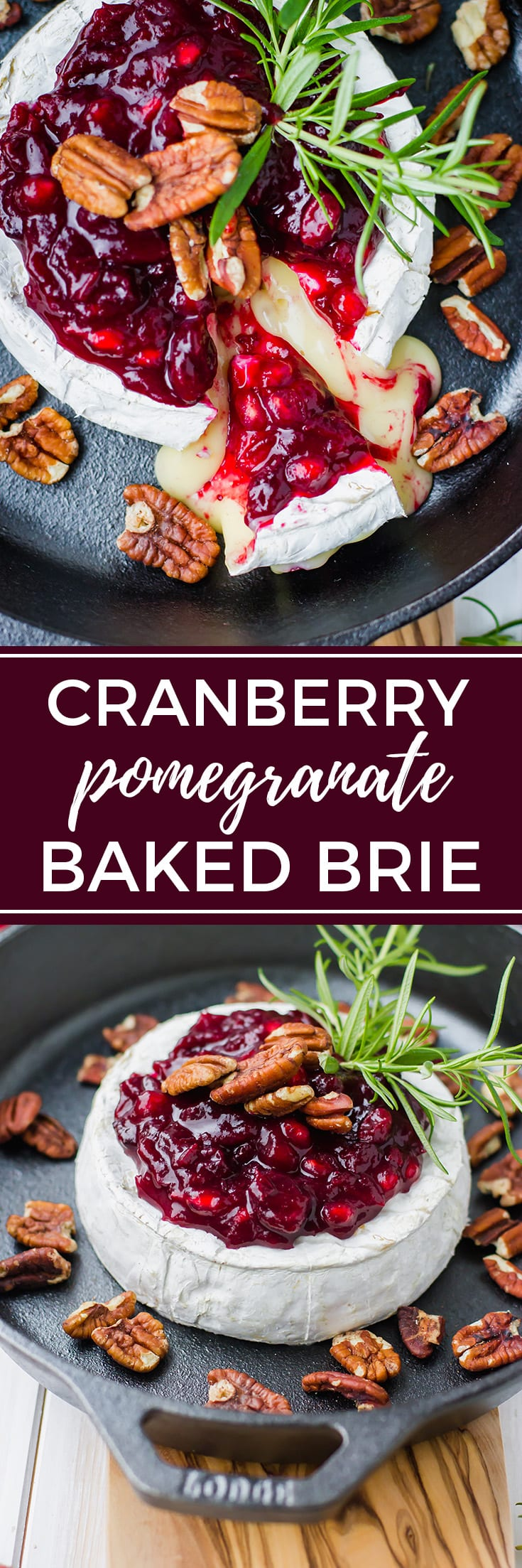 Cranberry pomegranate baked brie | The ultimate festive, delicious, and easy holiday party appetizer. #bakedbrie #partyappetizers #holidayfood