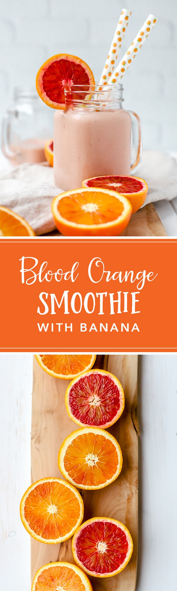 A healthy blood orange banana smoothie, cool, creamy, and perfect for taking full advantage of citrus season! #citrus #bloodorange #smoothie