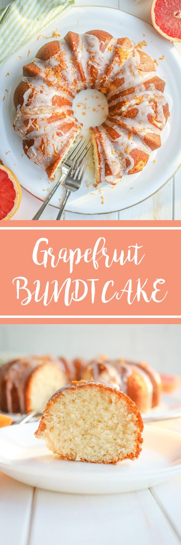 Bake this super moist glazed grapefruit bundt cake to make the most of citrus season! The perfect recipe for brunch, Mother's Day, or afternoon coffee cake. #grapefruitrecipes #citrusrecipes #bundtcake #mothersday