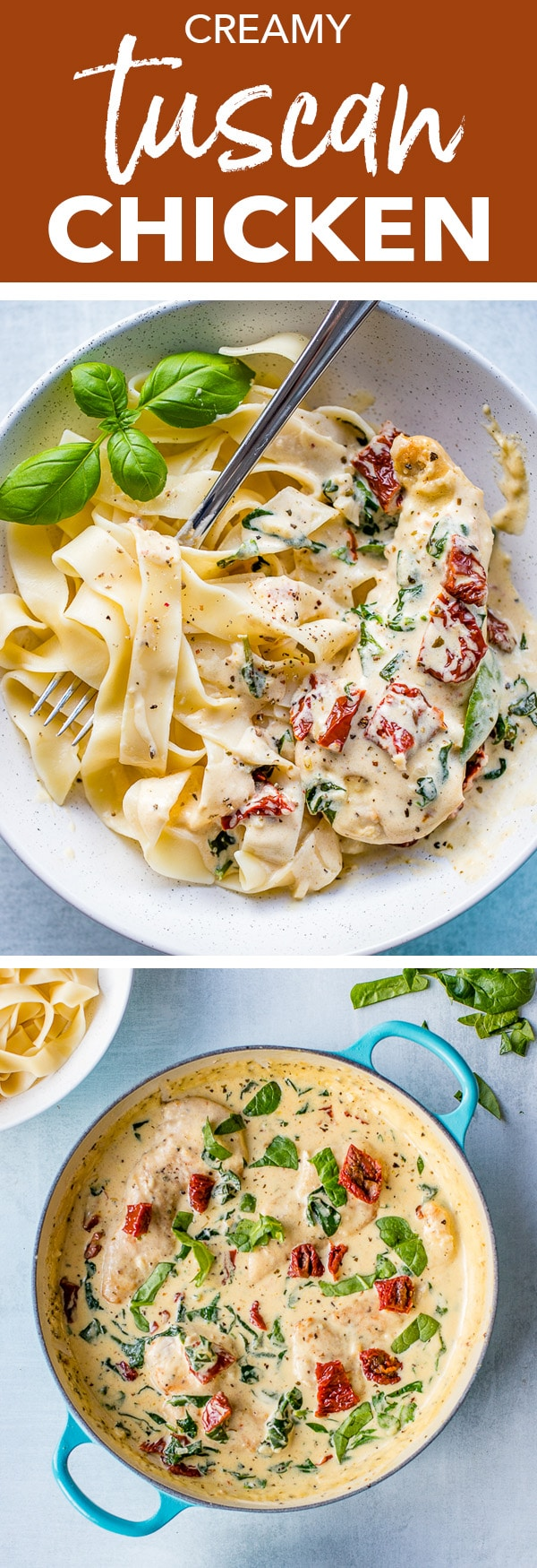 A restaurant-quality meal on the table in less than 30 minutes - creamy Tuscan chicken with fresh garlic, spinach, and sun-dried tomatoes is as easy as it is delicious, and as perfect for busy weeknights as it is for entertaining. #dinnerpartyrecipes #tuscanchicken #chickenrecipes #weeknightmeals