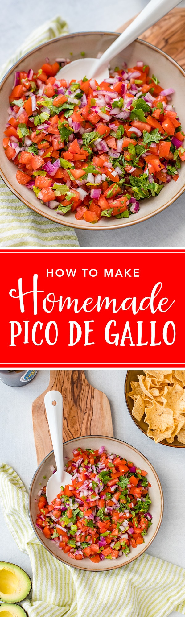 Homemade pico de gallo is easy to make, delicious, and much more fresh than any packaged product. The perfect homemade salsa! #picodegallo #salsa #texmex