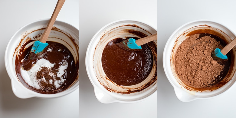 Bowls of batter for the perfect flourless chocolate cake.