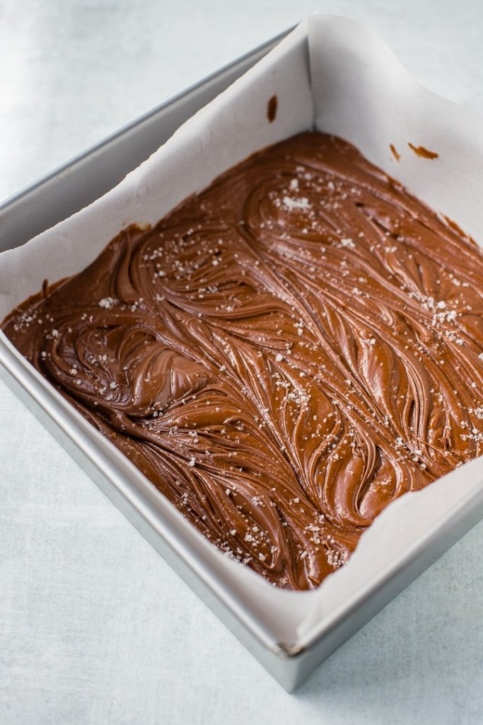 Nutella brownies, swirled in the baking pan and topped with sea salt.