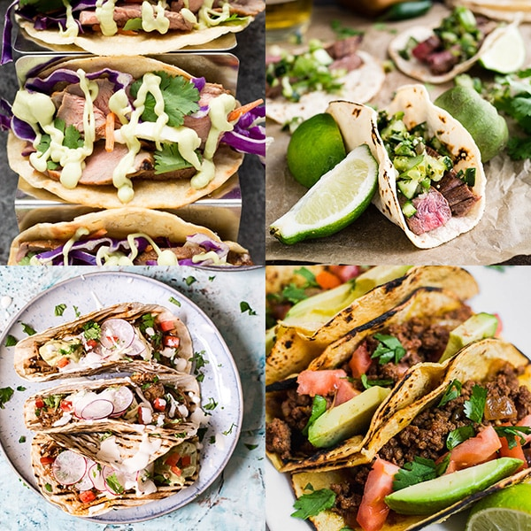 Collage of four beef and lamb taco recipes.