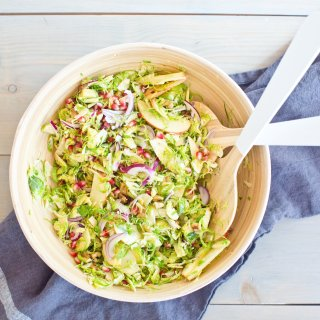 fall pomegranate brussels salad