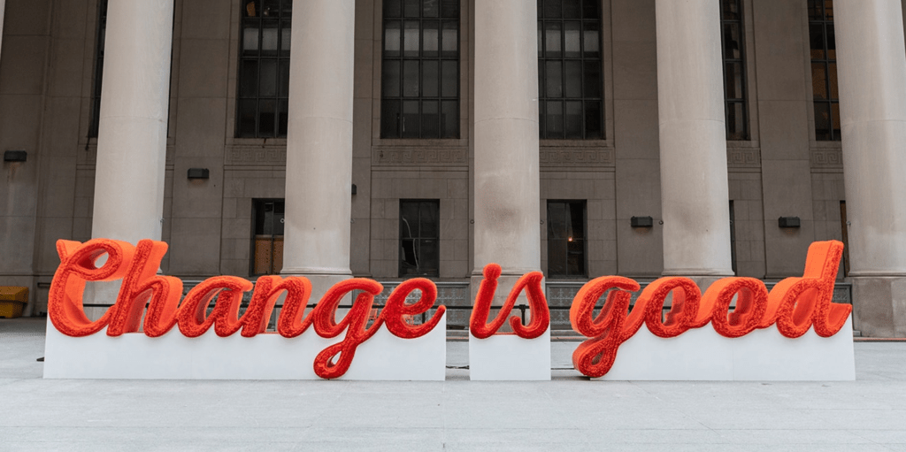 'Change is good' spelled out in A&W straws