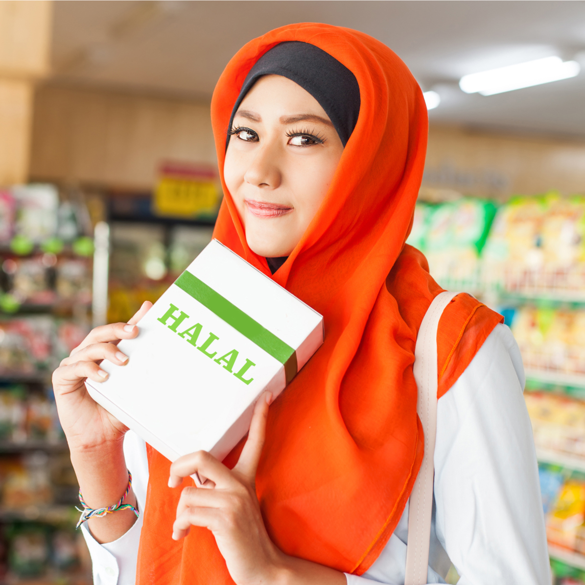 Muslim woman shopping for halal groceries
