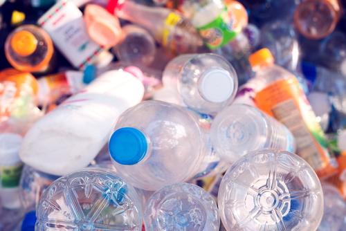 single-use plastics bottles in a recycling bin