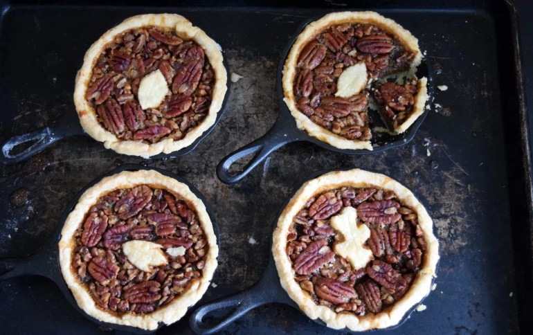 "Need dessert? Recipe for delicious individual cast iron skillet pecan pie. Instructions for traditional 9"" pie as included as well."