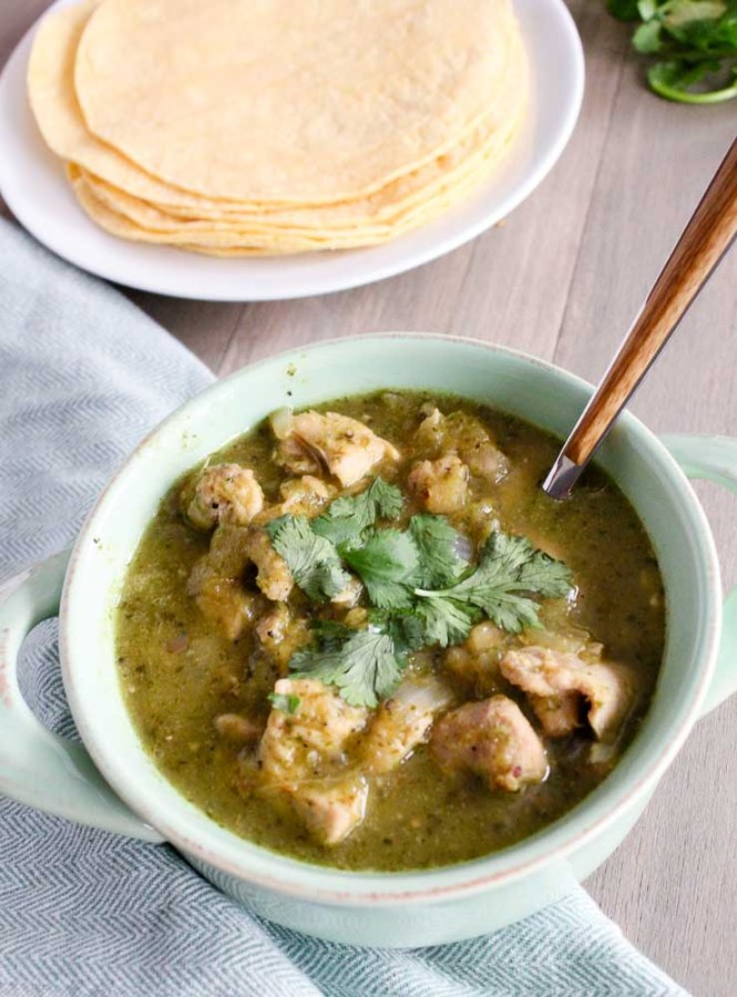 Chicken Chile Verde Recipe Served with Tortillas
