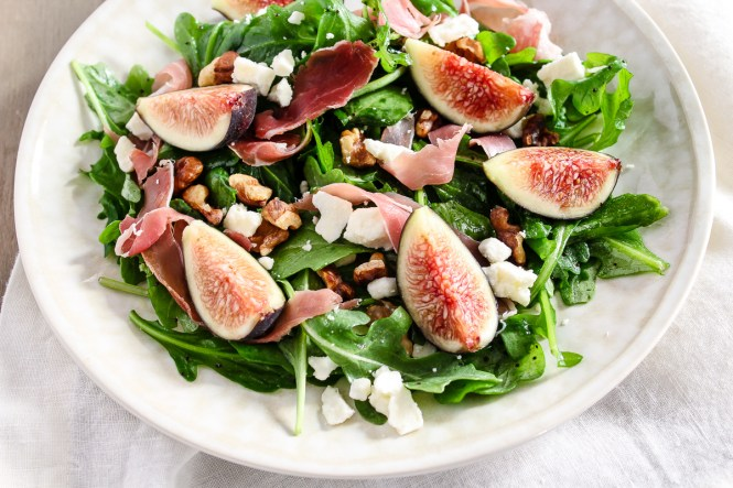 prosciutto and fig salad over arugula with walnuts and feta cheese