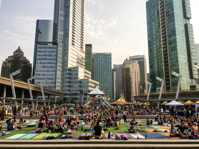 Yoga in Vancouver during the 2017 Lululemon Seawheeze Package Pickup Party