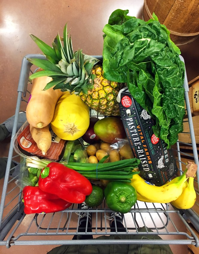 Whole30 Grocery Cart filled with fresh produce and eggs
