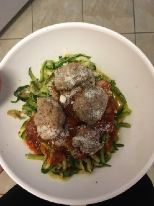 What I Ate in a Day- Zoodles and Italian Baked Meatballs