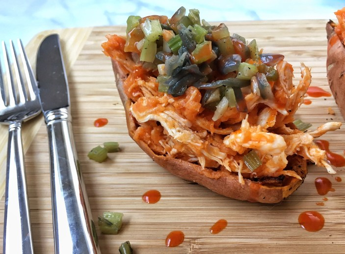Buffalo Chicken Sweet Potato Skins (1)