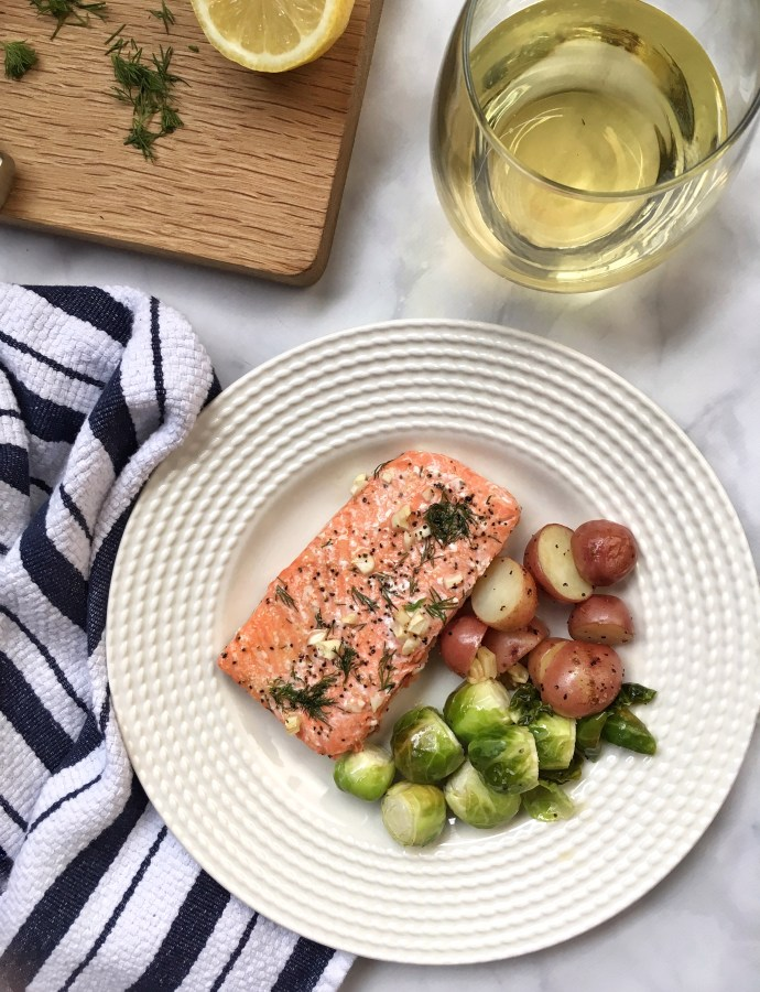 30-Minute Lemon Dill Salmon & Roasted Potatoes {Dairy-Free, Paleo, Gluten-Free}