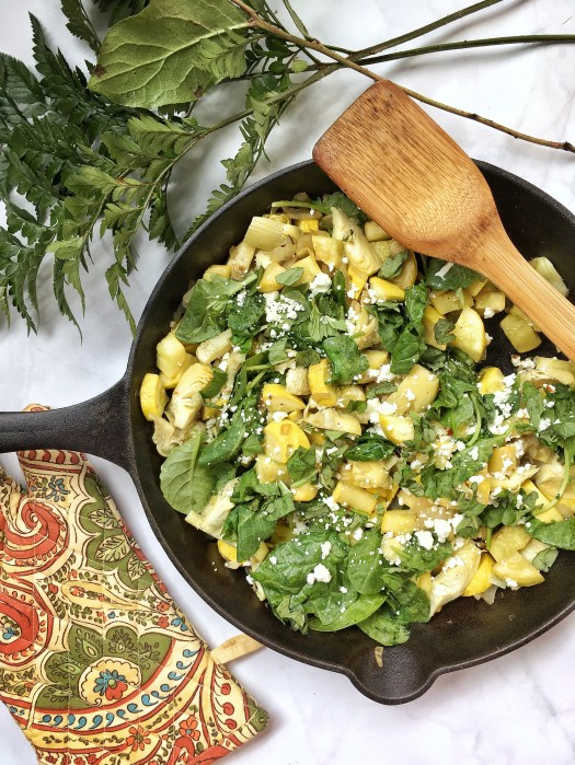 Summer Squash Skillet with goat cheese and artichoke