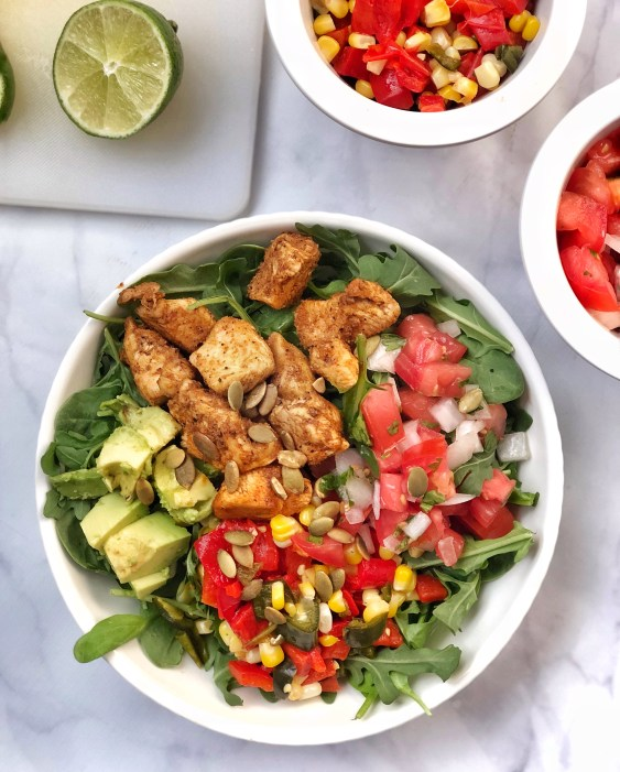 Fajita Paleo Chicken Salad with Corn Salsa (1)