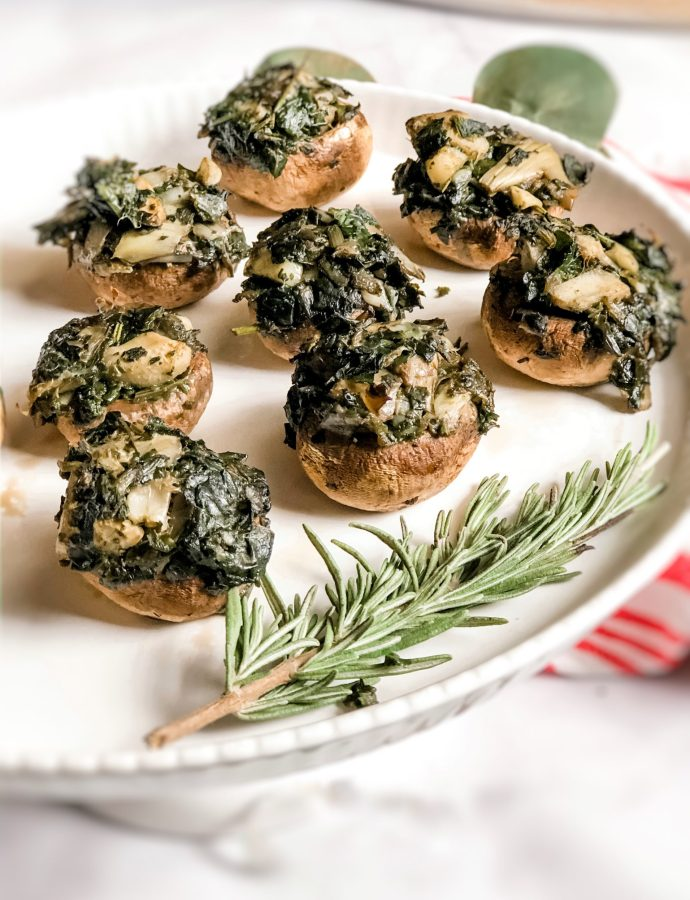 Paleo Spinach & Artichoke Stuffed Mushrooms