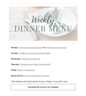 Nourished Weekly Dinner MEnu