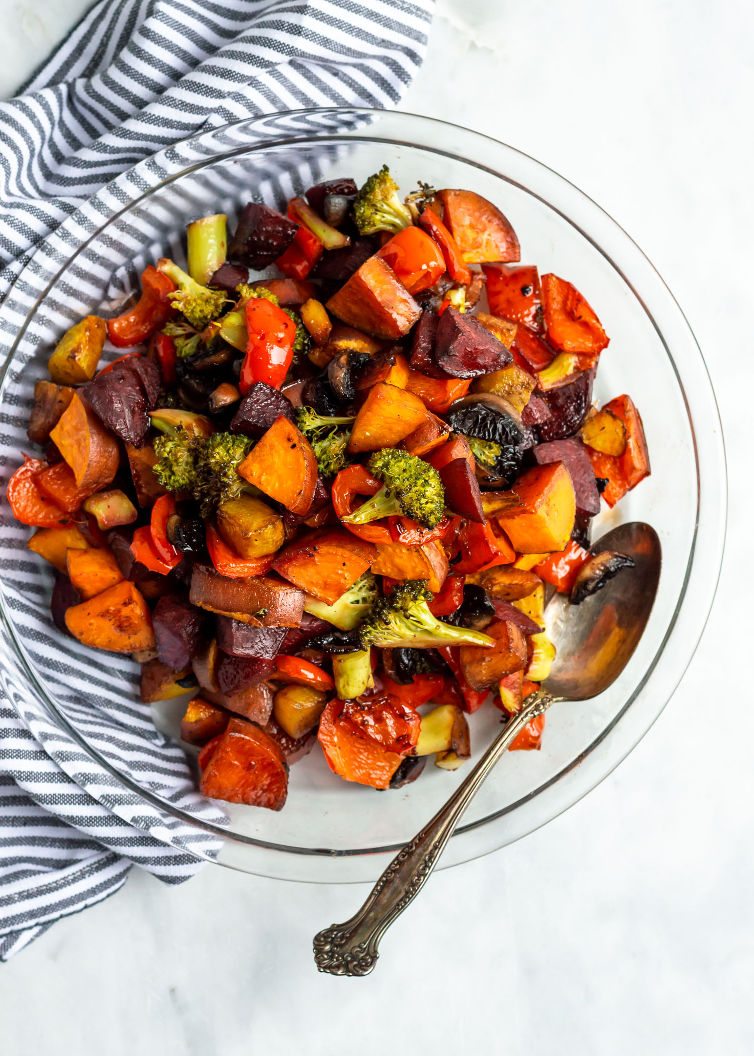 Balsamic Honey Roasted Vegetables are the best way to eat your veggies! Oven-roasted until tender, any medley of vegetables works for this recipe for a healthy and easy side to any lunch or dinner.  These Balsamic Honey Roasted Vegetables are also a great make ahead and meal prep idea.