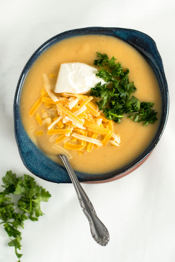 Lightened Up Creamy Potato Soup with Cauliflower | recipe | Creamy Potato Soup| gluten free and vegan possible | easy to make | soup | side dish