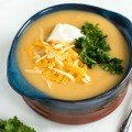 Lightened Up Creamy Potato Soup with Cauliflower | nourishedtheblog.com | feature image