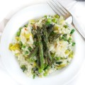 Vegan Leek and Pea Risotto with Asparagus
