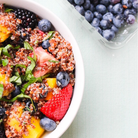 16 Awesome Quinoa Recipe Ideas | nourishedtheblog.com | Berry and Basil Quinoa Salad from Kayla @ The College Dish
