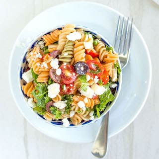 Bruschetta Pasta Salad with Olives and Kale