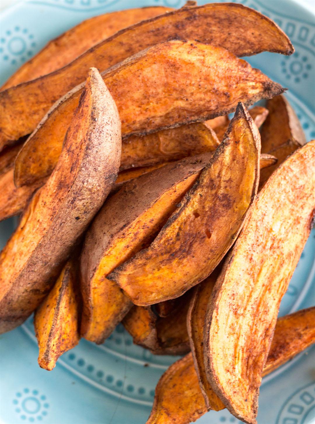 spicy roasted sweet potato wedges   gluten free & vegan
