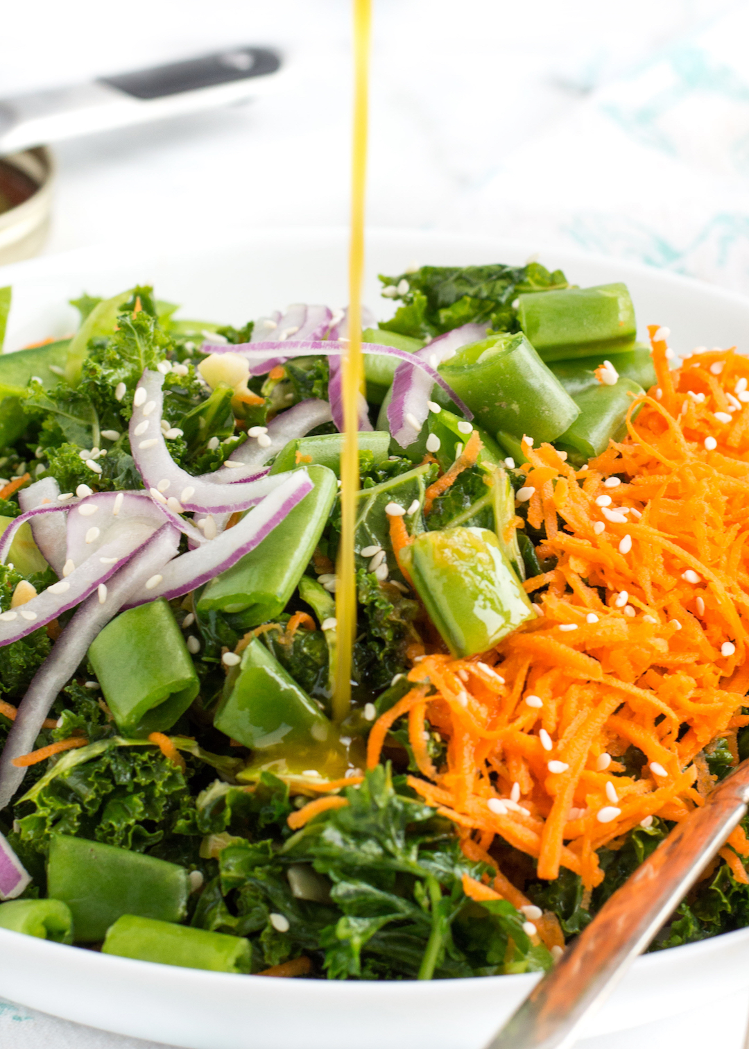 Chopped Veggie Kale Salad with Sesame Dressing