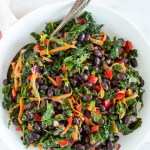 Healthy lunch doesn't get better than this! This Easy Veggie Black Bean Salad with Zesty Lime Dressing is the best vegetarian and gluten free meal prep recipe for lunch (or a simple side dish!) all week long. Made with peppers, kale and carrots tossed together with a homemade dressing with cumin, honey and lime, this salad is delicious!