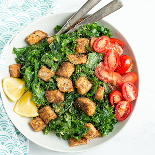 Easy Kale Caesar Salad with Homemade Croutons