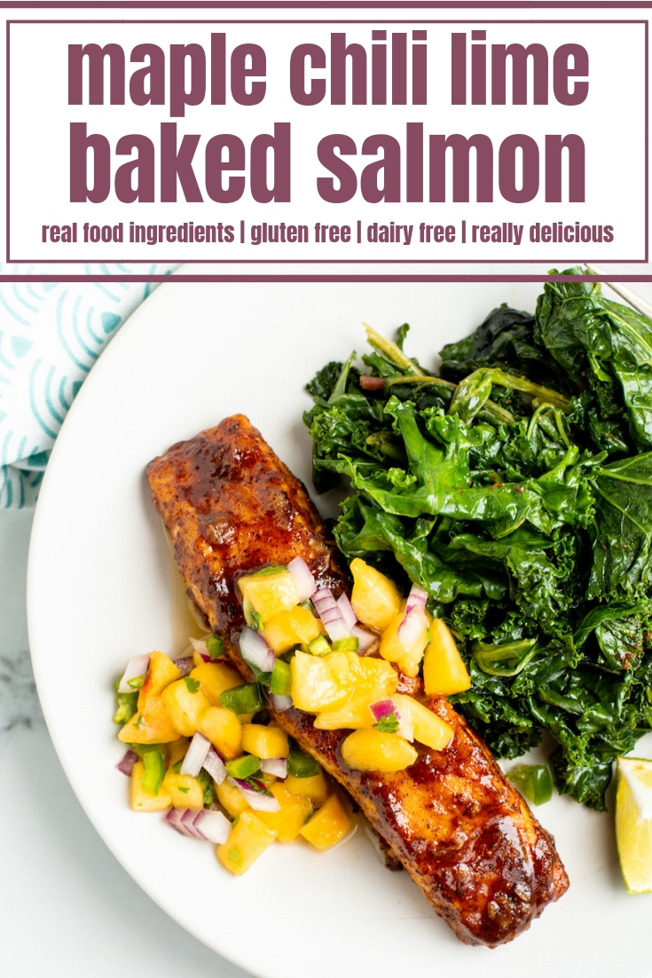 Easy Maple Chili Lime Salmon is a healthy dinner recipe for any night of the week! This baked salmon uses lime, maple syrup and chili powder for a perfectly sweet and smoky glaze that pairs well with any fruity salsa. Best of all - this clean-eating salmon recipe is ready in 30 minutes!