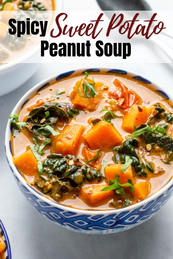 Spicy Sweet Potato Peanut Soup with Kale is a healthy and easy to make weeknight soup that is sure to please! This gluten free and dairy free chunky vegetable soup is made with peanut butter, ginger, tomatoes, turmeric and, of course, sweet potatoes and is the perfect combination of sweet, spicy and creamy.