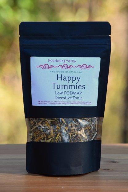 bag of herbal tea called Happy Tummies low FODMAP digestive tonic
