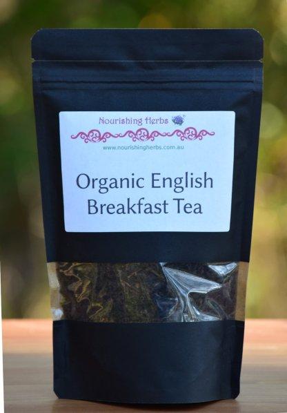 a bag of organic english breakfast tea