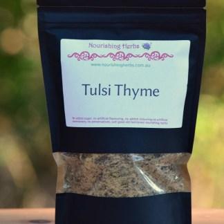 a bag of herbal tea called Tulsi Thyme