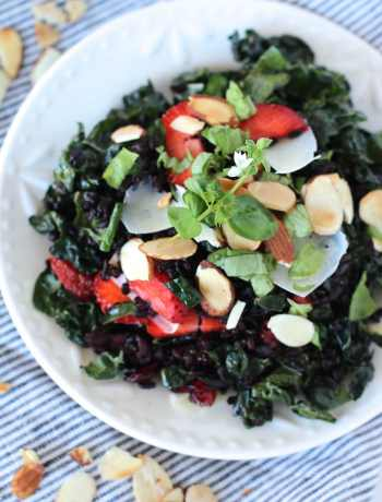 Wild Kale Salad Recipe - kale salad with strawberries, toasted almonds, parmesan cheese, basil | Nourishing Wild