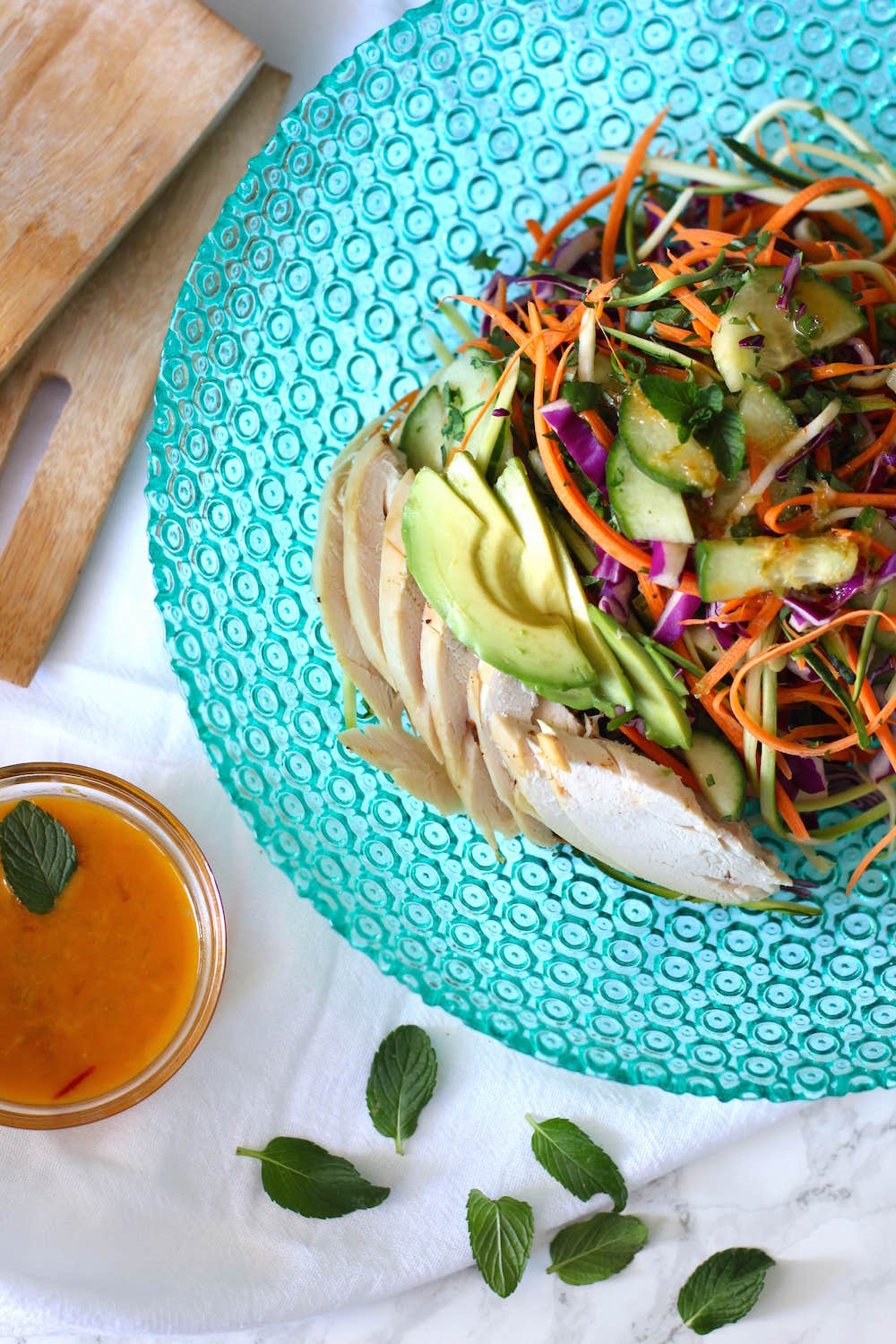Raw Pad Thai Salad Recipe - zoodles, cucumbers, and lots of herbs | Nourishing Wild