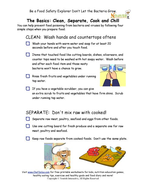 Chef Solus Food Safety Rules Checklist For Children In The