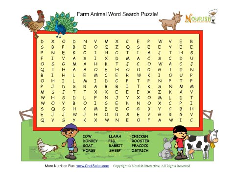 Farm Animals Fun  Word Search Puzzle For Kids 15 Words