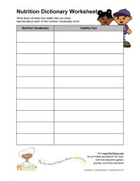 Printable - Nutrition Vocabulary Word and Healthy Facts ...