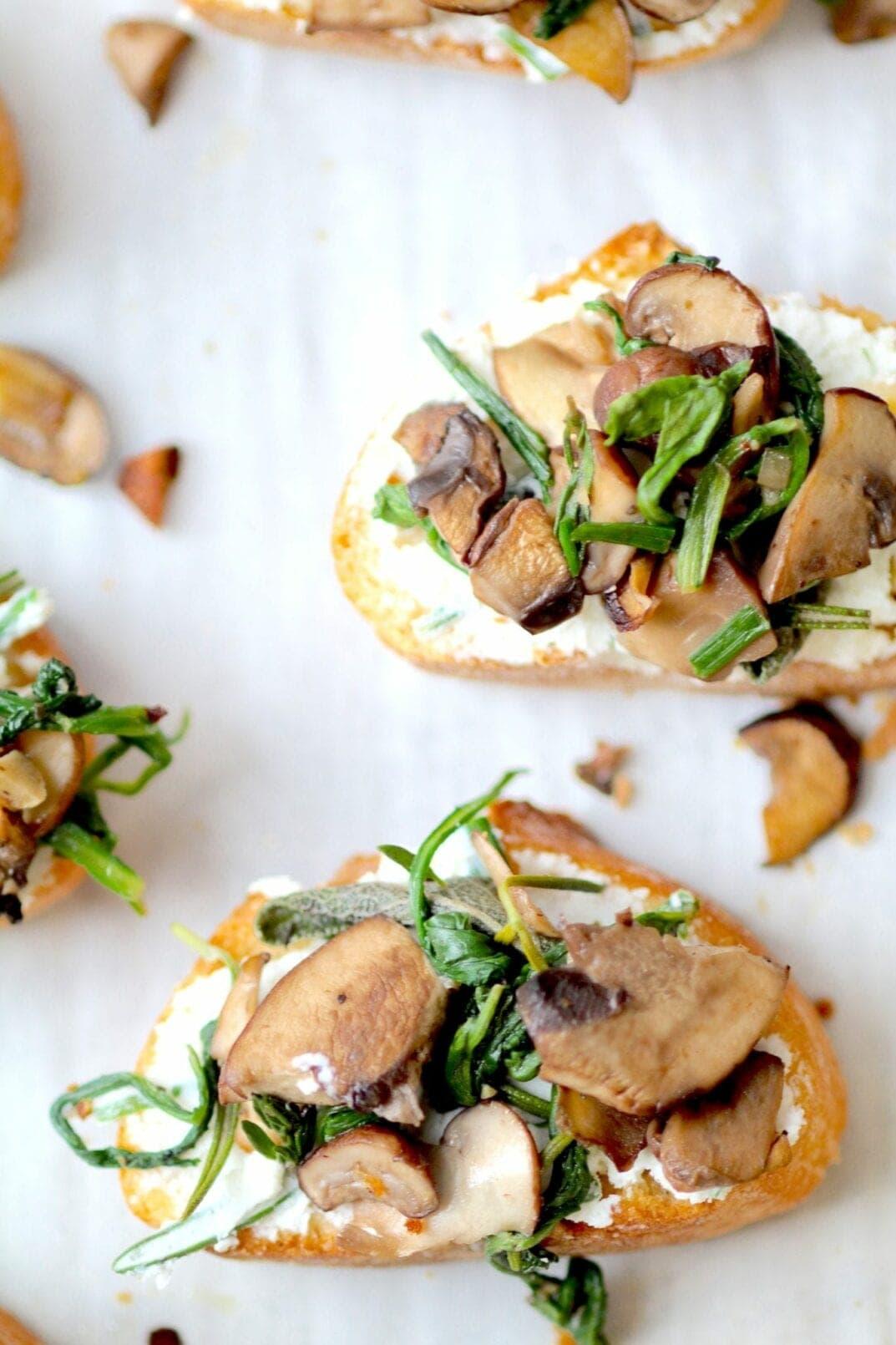 simple herb roasted mushroom + goat cheese crostini   www.nourishmovelove.com