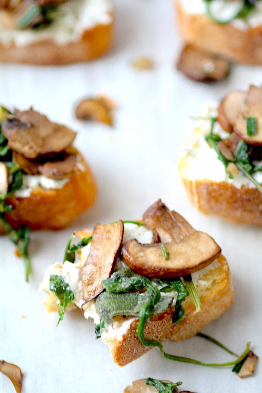 herb roasted mushroom and goat cheese crostini