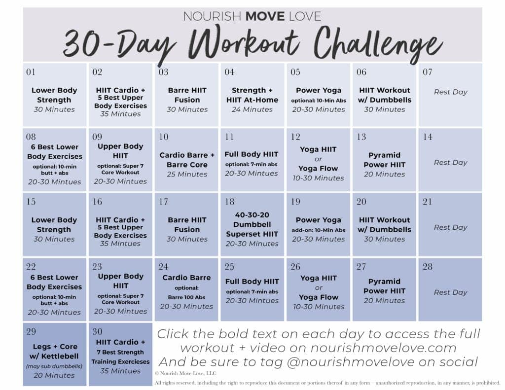free 30 day workout