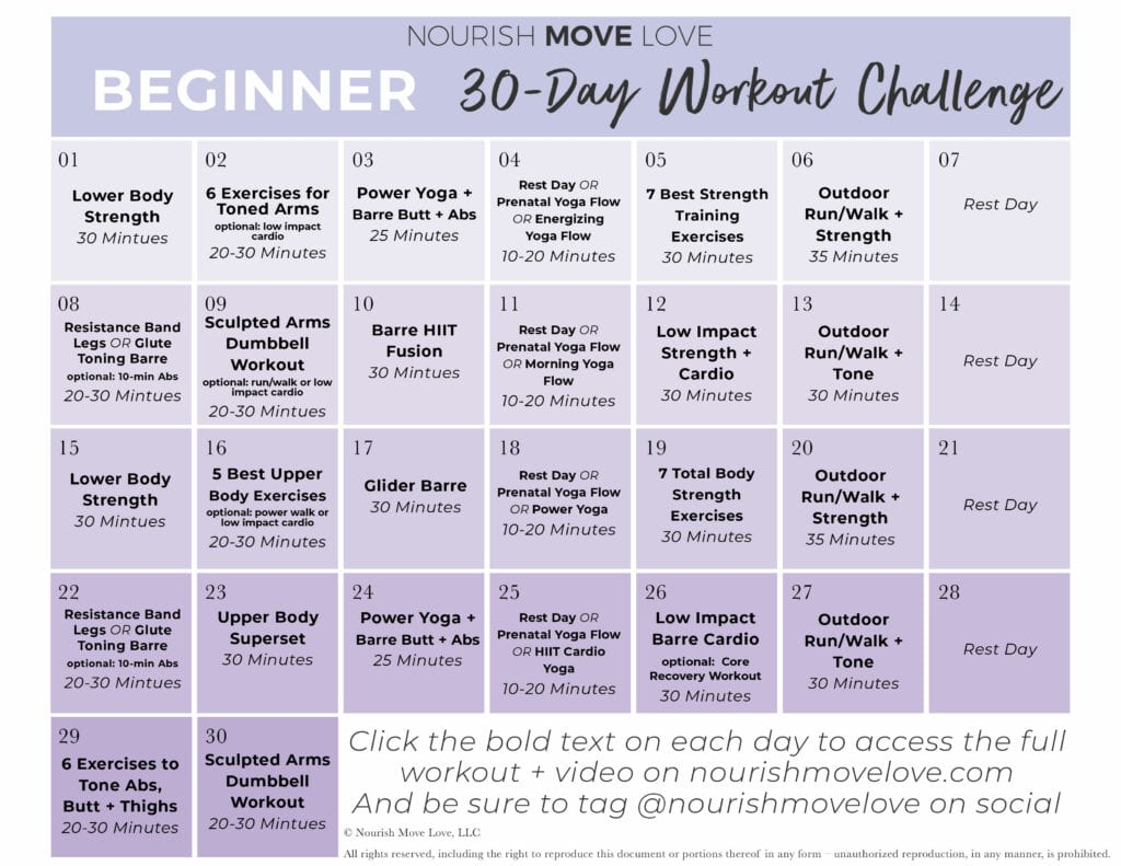 beginner workout plan 30
