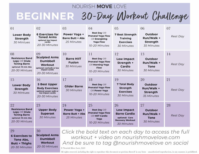 Beginner Workout Plan 30 Day Workout Calendar